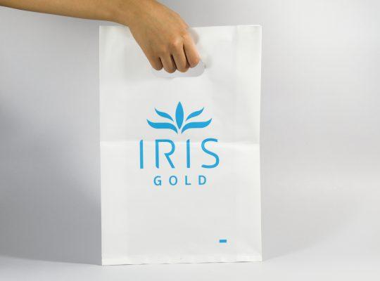ถุงหูเจาะขาวนม พิมพ์สีฟ้า IRIS