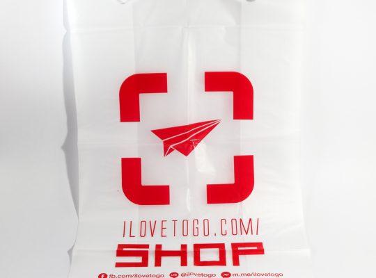 ถุงหูหิ้วพิมพ์สีแดง ILoveToGo.com